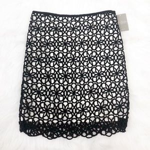 Anthropologie Postmark Black Dilated Lace Skirt